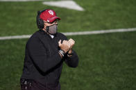 Indiana head coach Tom Allen watches during the second half of an NCAA college football game against Maryland, Saturday, Nov. 28, 2020, in Bloomington, Ind. Indiana won 27-11. (AP Photo/Darron Cummings)