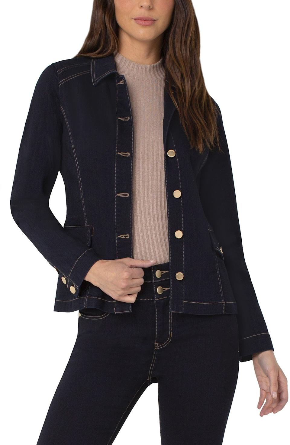 <p>From the topstitched outlines to the tailored silhouette, this <span>Liverpool Los Angeles Tailored Denim Jacket</span> ($109) exudes femininity and craftsmanship. You'll love wearing it year-round.</p>