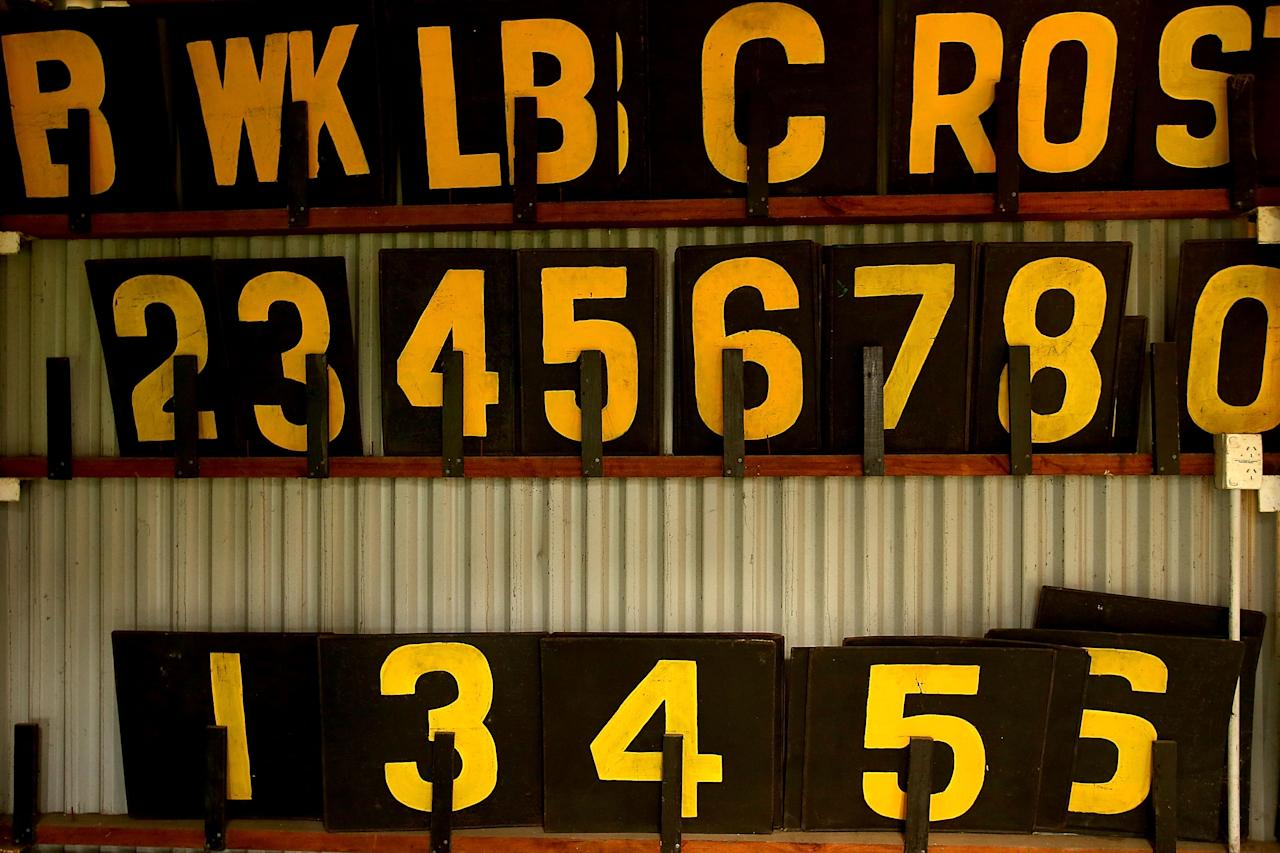 PERTH, AUSTRALIA - FEBRUARY 22:  Numeral plates are pictured in the old WACA scoreboard during day two of the Sheffield Shield match between the Western Australia Warriors and the Tasmania Tigers at WACA on February 22, 2013 in Perth, Australia.  (Photo by Paul Kane/Getty Images)