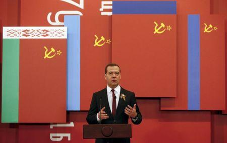 Russia's PM Medvedev visits the Central Museum of the Great Patriotic War in Moscow