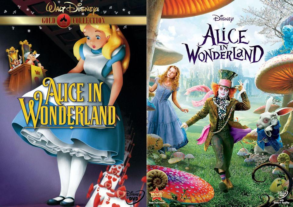 """<p>Disney's first live-action remake told Alice's story with an increased role for the Mad Hatter, played by Johnny Depp, and a dark, gothic twist courtesy of legendary direction Tim Burton.</p><p>A sequel was released in 2016.</p><p><a class=""""link rapid-noclick-resp"""" href=""""https://www.amazon.com/dp/B003QTNFHW?tag=syn-yahoo-20&ascsubtag=%5Bartid%7C10065.g.2936%5Bsrc%7Cyahoo-us"""" rel=""""nofollow noopener"""" target=""""_blank"""" data-ylk=""""slk:Watch the Remake"""">Watch the Remake</a></p>"""