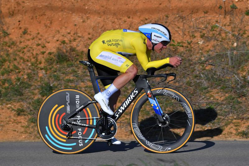 LAGOA PORTUGAL FEBRUARY 23 Remco Evenepoel of Belgium and Team Deceuninck Quick Step Yellow Leader Jersey during the 46th Volta ao Algarve 2020 Stage 5 a 203km Individual Time Trial stage from Lagoa to Lagoa ITT VAlgarve2020 on February 23 2020 in Lagoa Portugal Photo by Tim de WaeleGetty Images