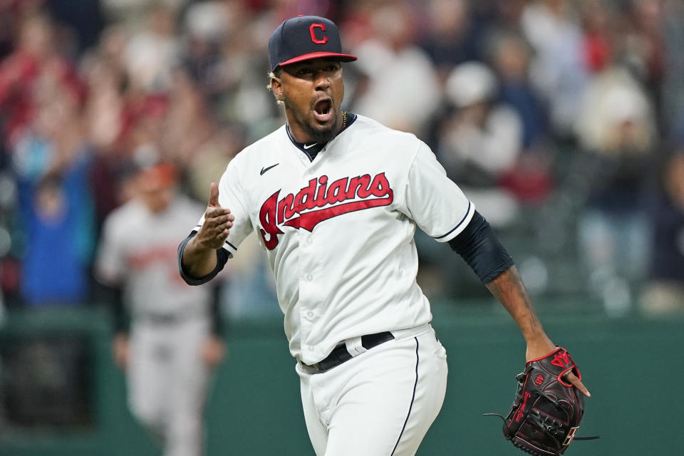 Cleveland Indians relief pitcher Emmanuel Clase reacts after the Indians defeated the Baltimore Orioles 8-7 in a baseball game Wednesday, June 16, 2021, in Cleveland. (AP Photo/Tony Dejak)