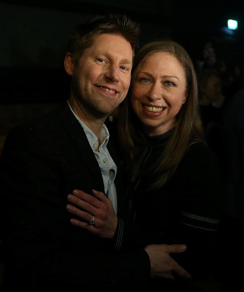 Burberry Chief Creative Officer Christopher Bailey poses for a photograph with Chelsea Clinton after the Burberry show at London Fashion Week, in London, Britain February 17, 2018.  REUTERS/Paul Hackett