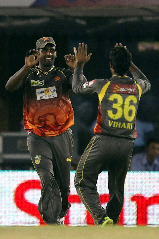 Thisara Perera celebrates the wicket of Shaun Marsh during match 59 of of the Pepsi Indian Premier League between The Kings XI Punjab and the Sunrisers Hyderabad held at the PCA Stadium, Mohali, India  on the 11th May 2013.(BCCI)