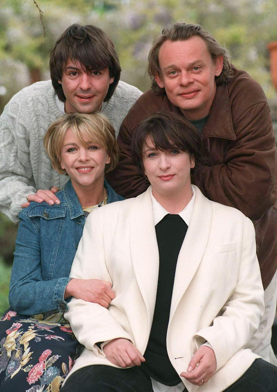 Stars of the BBC-1 series Men Behaving Badly ; Martin Clunes (top r) and Neil Morrissey, Leslie Ash (bottom left) and Caroline Quentin.   * 22/5/96 Caroline Quentin suing her agent. 27/8/96 The show, which  won the 1995 winner of Best Comedy in the National Television Awards (The Viewers Choice), has been nominated for the same  award again this year.   (Photo by Rebecca Naden - PA Images/PA Images via Getty Images)
