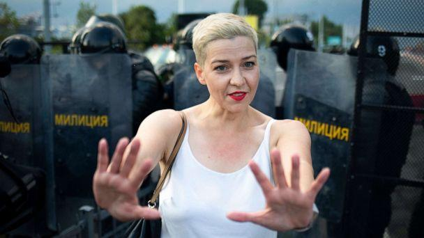 PHOTO: In this file photo taken Aug. 30, 2020, Belarusian opposition leader Maria Kolesnikova gestures during a rally in Minsk, Belarus. (Tut.By via AP)