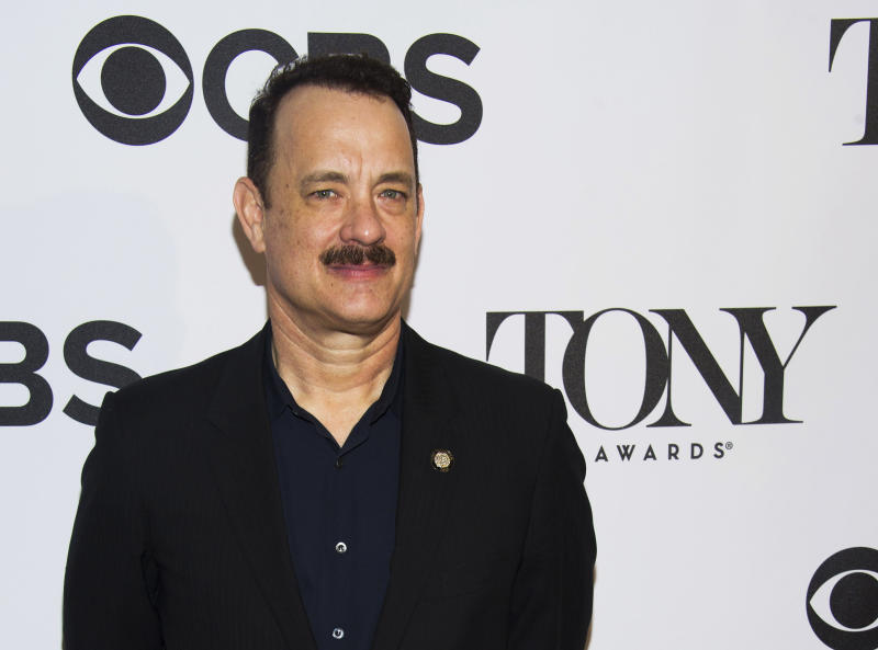 """Tom Hanks attends the 2013 Tony Awards Meet the Nominess press reception on Wednesday, May 1, 2013 in New York. Hanks was nominated for a Tony award for best leading actor in a play, Tuesday, for his role in """"Lucky Guy."""" (Photo by Charles Sykes/Invision/AP)"""