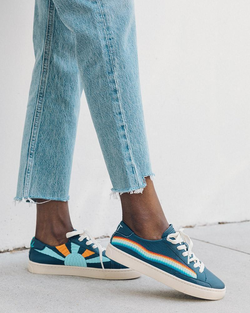 Soludos Rainbow Wave sneakers in Marine Blue.