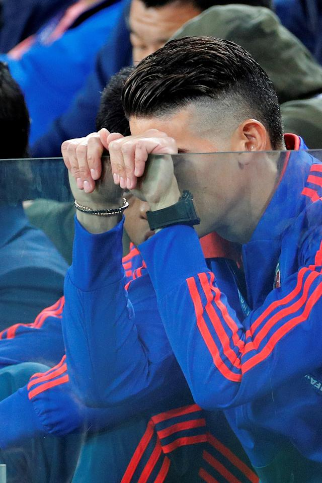 <p>James Rodriguez is distraught with Kane's opening goal for England </p>
