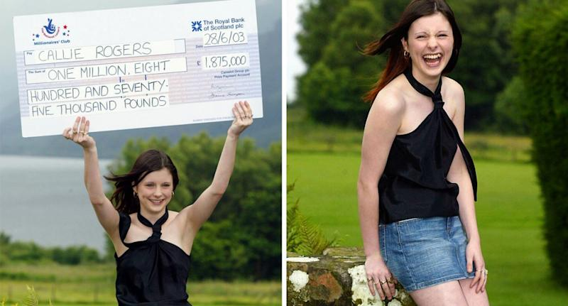 The excited teen holds up her lotto winnings.