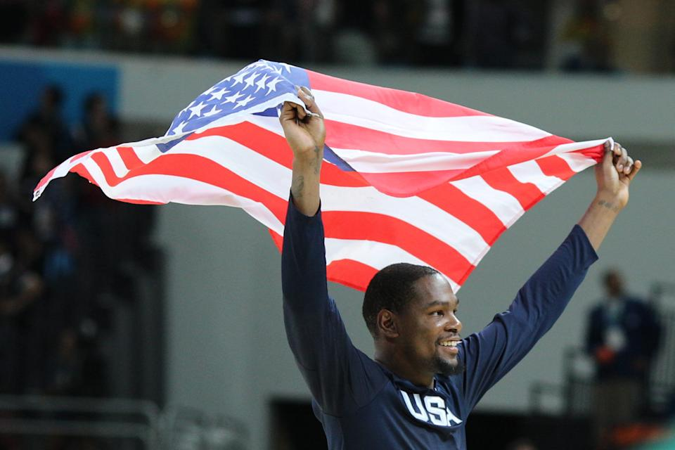 Basketball - Olympics: Day 16   Kevin Durant #5 of United States celebrate victory during the USA Vs Serbia Men's Basketball Gold Medal game at Carioca Arena1on August 21, 2016 in Rio de Janeiro, Brazil. (Photo by Tim Clayton/Corbis via Getty Images)