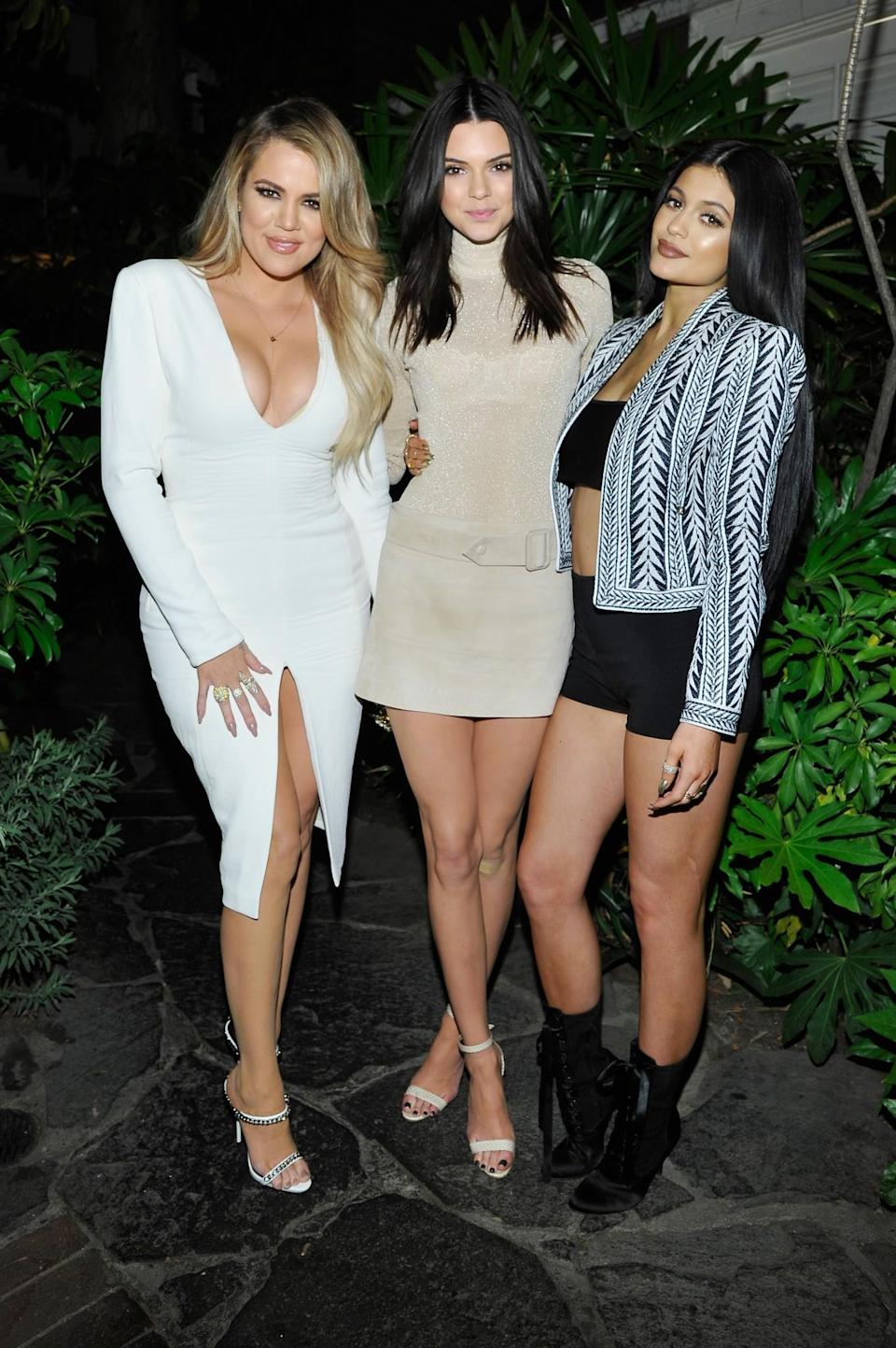 Khloe Kardashian, Kendall Jenner and Kylie Jenner in Los Angeles in 2015. (Photo: Getty Images)