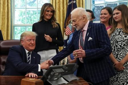 U.S. President Trump participates in moon landing 50th anniversary event at the White House in Washington