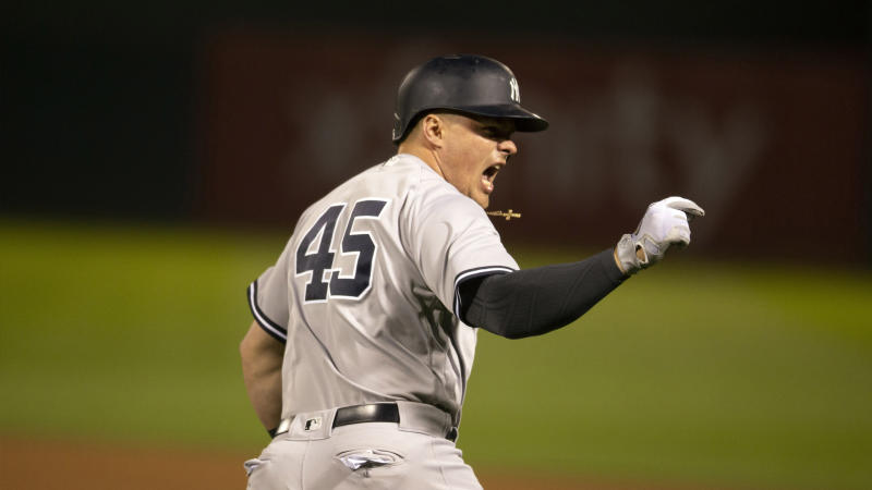 The Yankees beat the A's 5-1 to stay on pace with the Red Sox and add to their wild-card lead. (AP)