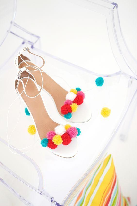 """<p>You can even make yourself this seasons hottest pom pom shoes. <i><a href=""""https://uk.pinterest.com/pin/102175485275627600/"""">[Photo: Pinterest]</a></i></p>"""