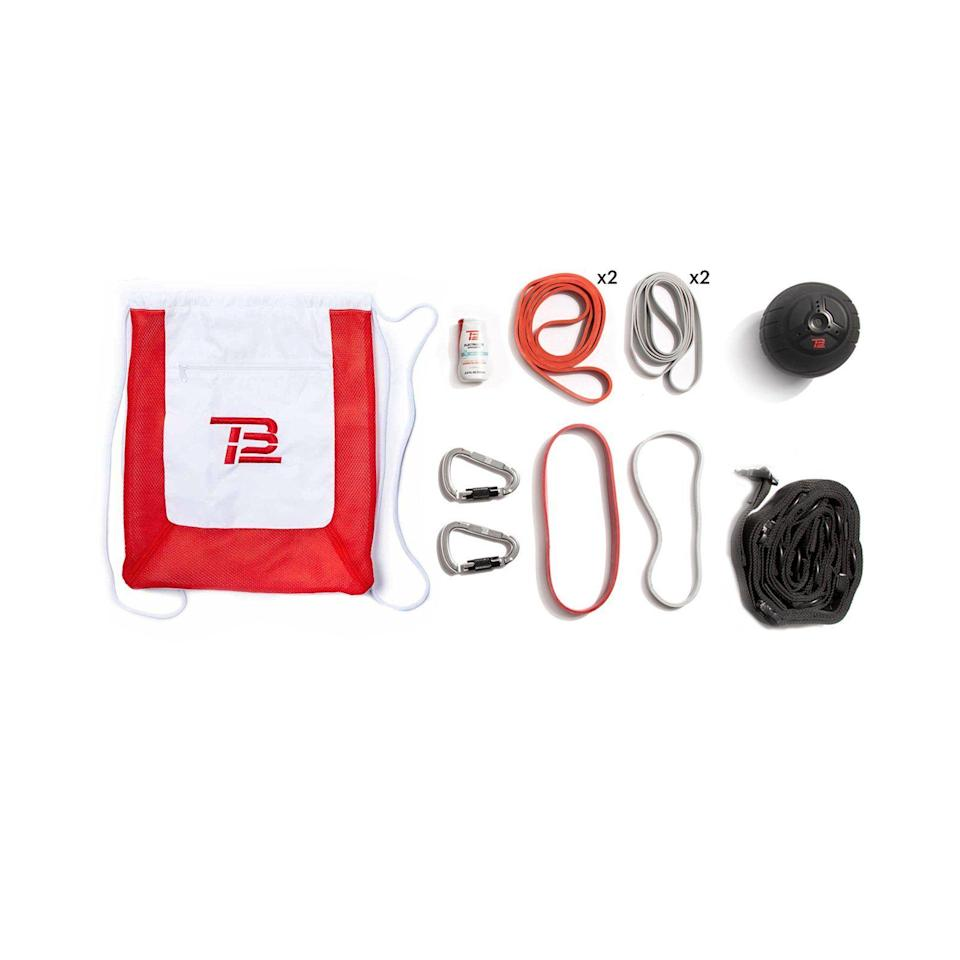 """<p>tb12sports.com</p><p><strong>$255.00</strong></p><p><a href=""""https://go.redirectingat.com?id=74968X1596630&url=https%3A%2F%2Ftb12sports.com%2Fshop%2Fproducts%2Ftb12-starter-home-gym-kit&sref=https%3A%2F%2Fwww.thepioneerwoman.com%2Fholidays-celebrations%2Fgifts%2Fg36212544%2Fgifts-for-dad-from-daughter%2F"""" rel=""""nofollow noopener"""" target=""""_blank"""" data-ylk=""""slk:Shop Now"""" class=""""link rapid-noclick-resp"""">Shop Now</a></p><p>Even if he doesn't have space for large gym equipment, there's no reason he shouldn't be able to work out at home. This portable set includes everything he'll need for a serious, full-body workout.</p>"""