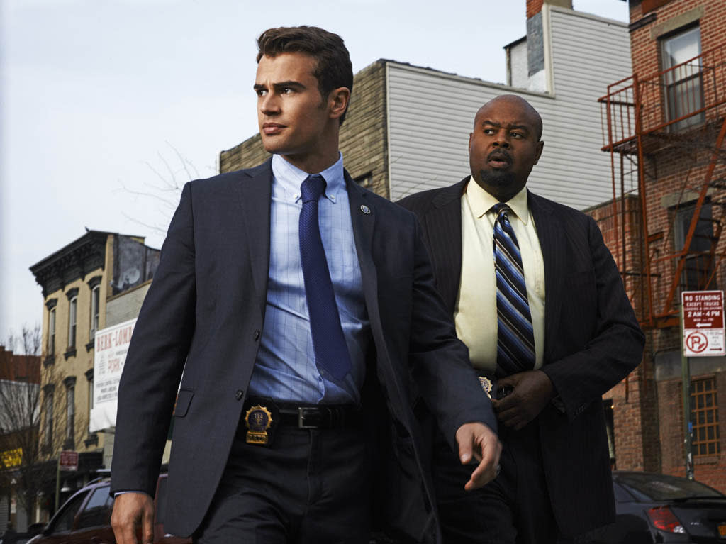 "Walter Clark Jr. (Theo James, left) is partnered with and mentored by experienced veteran Detective Don Owen (Chi McBride, right) in the new CBS drama ""Golden Boy."""