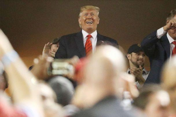 PHOTO: President Donald Trump attends Game Five of the 2019 World Series between the Houston Astros and the Washington Nationals at Nationals Park, Oct. 27, 2019 in Washington, D.C. (Patrick Smith/Getty Images)