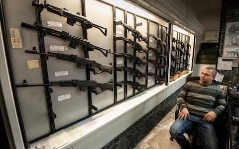 Arsenal gun shop selling assault rifles manufactured in their factory in Kazanlak - Credit: Simon Townsley