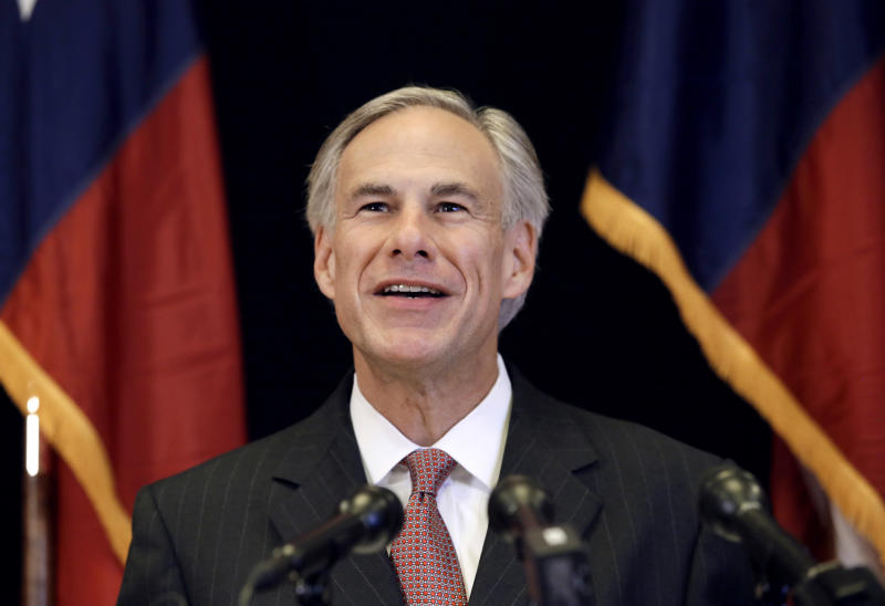 FILE - In this Nov. 4, 2013 file photo, Republican candidate for governor, Texas Attorney General Greg Abbott smiles as he responds to a reporter's questions during a news conference in Dallas. In the nation's first primary of the season, Texas politicians scramble to fill a void left by an extraordinary shakeup in state offices. (AP Photo/Tony Gutierrez, File)