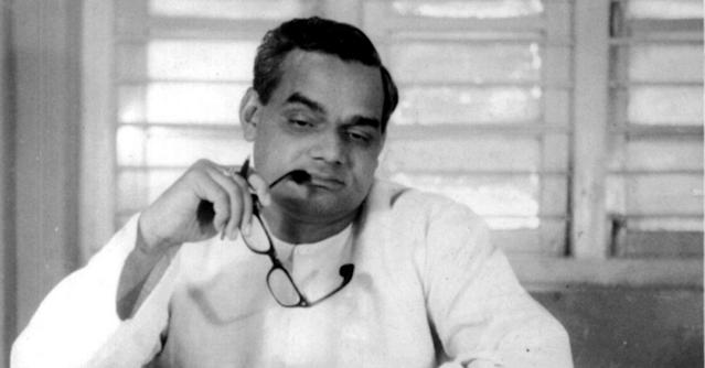 <p>Vajpayee in a ruminative mood. (Photo tweeted by @IndiaHistoryPic) </p>