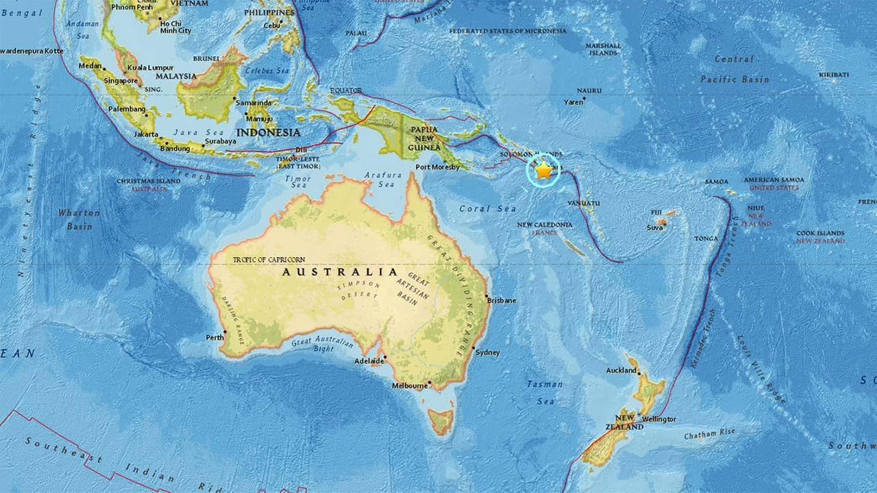 A preliminary-magnitude 6.9 aftershock struck near the Solomon Islands early Saturday morning local time, the day after a 7.7 earthquake hit the same area, the U.S. Geological Survey said.