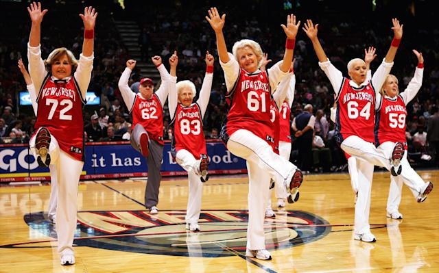 The New Jersey Nets Senior Dancers make their debut at the Continental Airlines Arena during a home game against the Detroit Pistons in 2007. | Linda Cataffo—NY Daily News Archive via Getty Images