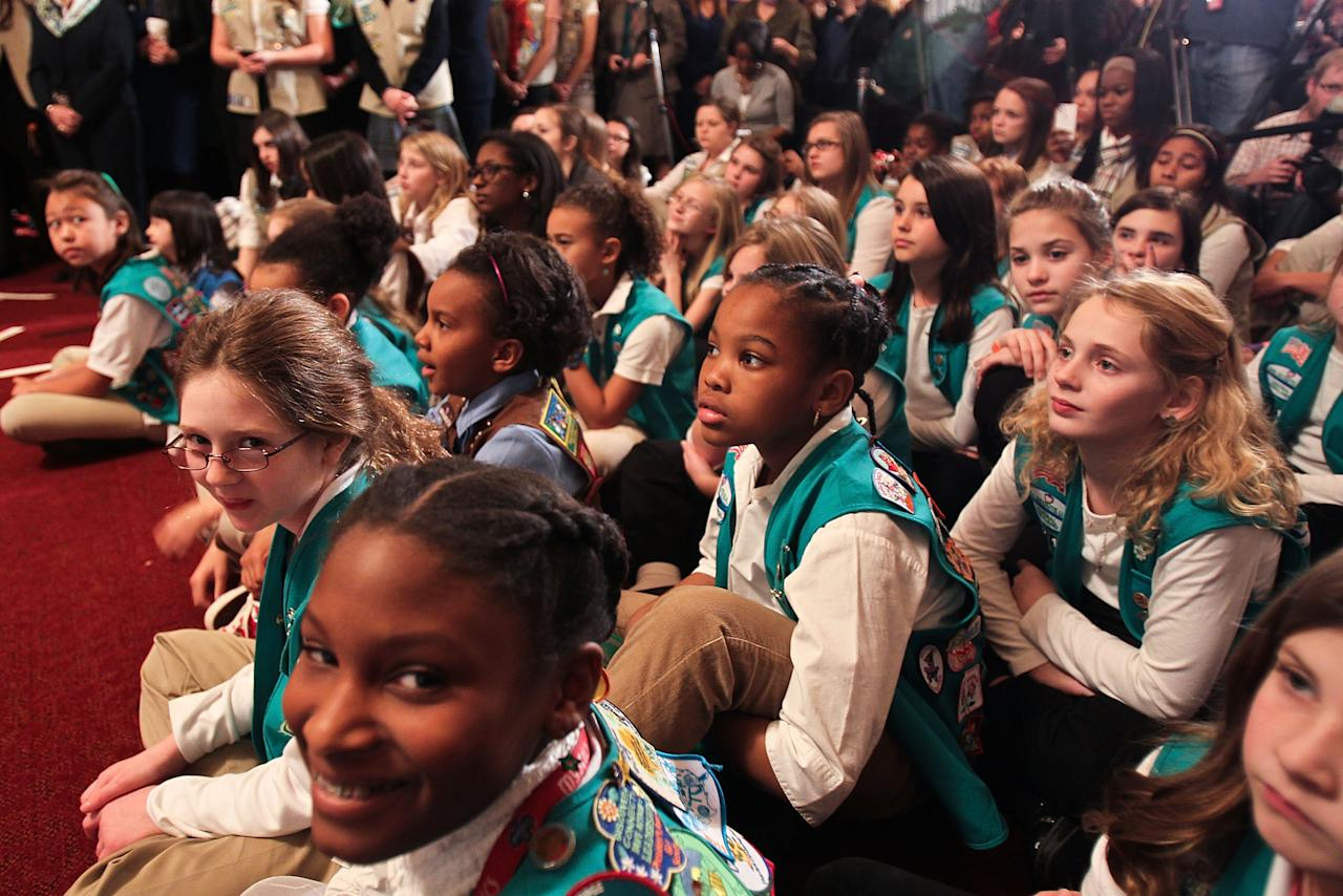 WASHINGTON, DC - FEBRUARY 01:  Area Girl Scouts attend Girl Scouts At 100: The Launch of ToGetHerThere at Capitol Hill Cannon House Office Bldg, Caucus Room on February 1, 2012 in Washington, DC.  (Photo by Paul Morigi/Getty Images for Girl Scouts of America)