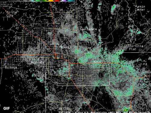 A still of a green mass over a map of Phoenix on a radar picked up by the National Weather Service.