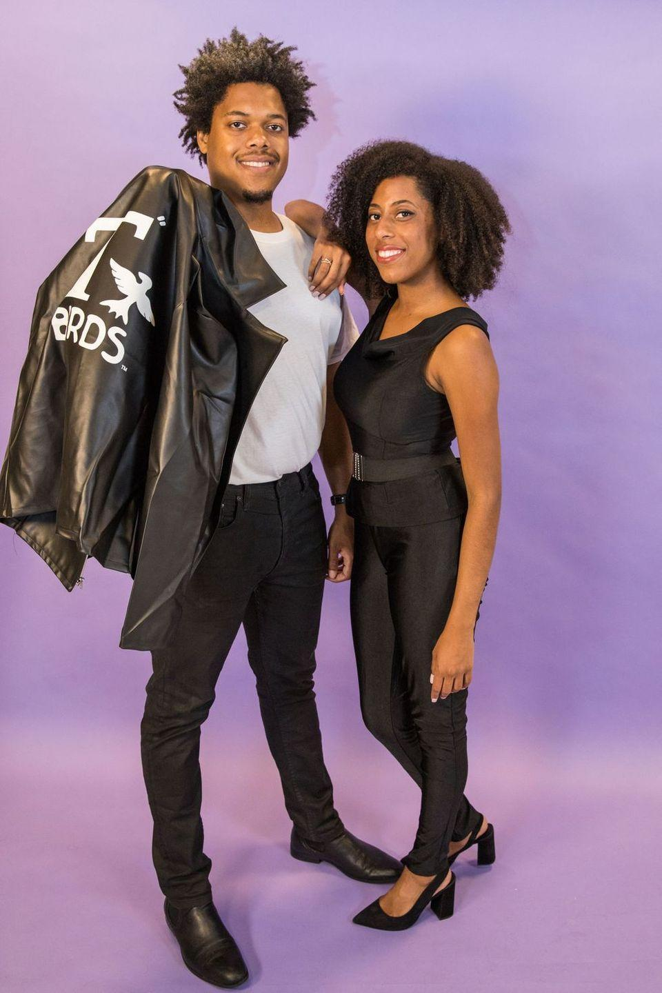 """<p>Nothing says """"Summer Lovin'"""" on a chilly October night like Danny and Sandy's classic ensembles. Luckily, this costume combines several closet staples — black leggings, leather jackets, and patent shoes — so you'll have no trouble pulling it together.</p><p><a class=""""link rapid-noclick-resp"""" href=""""https://www.amazon.com/Womens-Tight-Leather-Waisted-Leggings/dp/B07HS3HT6K/ref=sr_1_16?dchild=1&keywords=leather+leggings&psc=1&qid=1571412861&sr=8-16&tag=syn-yahoo-20&ascsubtag=%5Bartid%7C10055.g.29516206%5Bsrc%7Cyahoo-us"""" rel=""""nofollow noopener"""" target=""""_blank"""" data-ylk=""""slk:SHOP LEGGINGS"""">SHOP LEGGINGS</a></p><p><a class=""""link rapid-noclick-resp"""" href=""""https://www.amazon.com/MAGE-MALE-Leather-Motorcycle-Lightweight/dp/B07F2CWMBD/ref=sr_1_52?dchild=1&keywords=t-birds+jacket&psc=1&qid=1571412909&sr=8-52&tag=syn-yahoo-20&ascsubtag=%5Bartid%7C10055.g.29516206%5Bsrc%7Cyahoo-us"""" rel=""""nofollow noopener"""" target=""""_blank"""" data-ylk=""""slk:SHOP FAUX LEATHER JACKETS"""">SHOP FAUX LEATHER JACKETS</a></p><p><strong>RELATED: </strong><a href=""""https://www.goodhousekeeping.com/holidays/halloween-ideas/g2625/halloween-costumes-for-couples/"""" rel=""""nofollow noopener"""" target=""""_blank"""" data-ylk=""""slk:These Couples Costumes Will Win Halloween"""" class=""""link rapid-noclick-resp"""">These Couples Costumes Will Win Halloween</a></p>"""