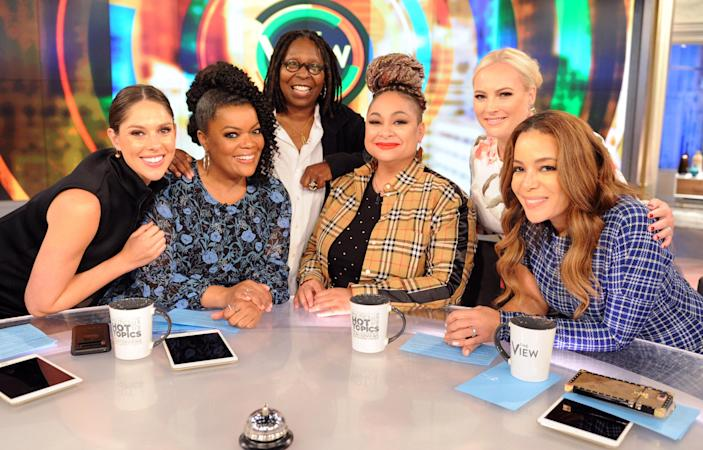 Raven-Symoné was on <em>The View</em> from 2015-2106. She's pictured with Abby Huntsman, Yvette Nicole Brown, Whoopi Goldberg, Meghan McCain and Sunny Hostin. (Photo: Getty Images)