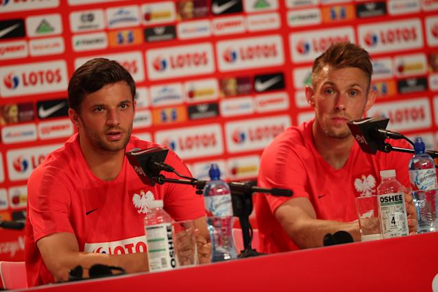 Soccer Football - World Cup - Poland Press Conference - Poland Training Camp, Sochi, Russia - June 14, 2018 Poland's Maciej Rybus and Bartosz Bereszynski during the press conference REUTERS/Hannah McKay