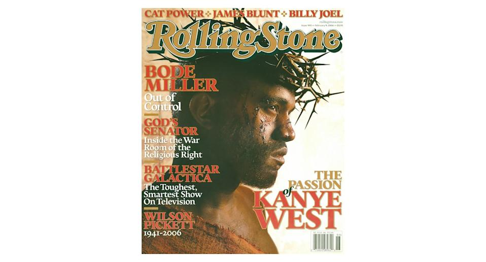 Kanye West famously dressed as Jesus Christ for the cover of <em>Rolling Stone</em> in 2006, playing reference to the 1968 cover of <em>Esquire</em> which starred Muhammad Ali in a similar pose. <em>[Photo: Rolling Stone]</em>