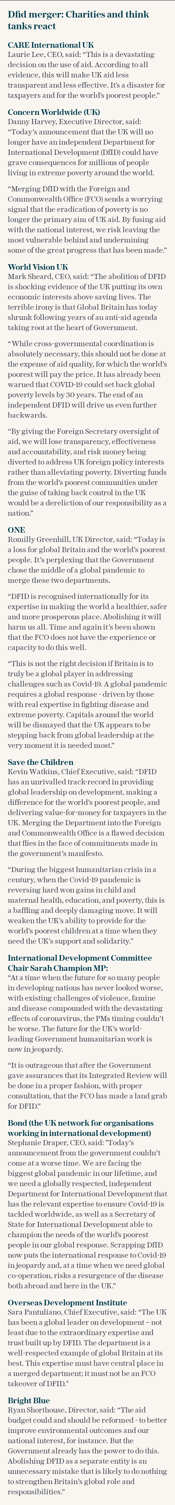 Dfid merger reaction