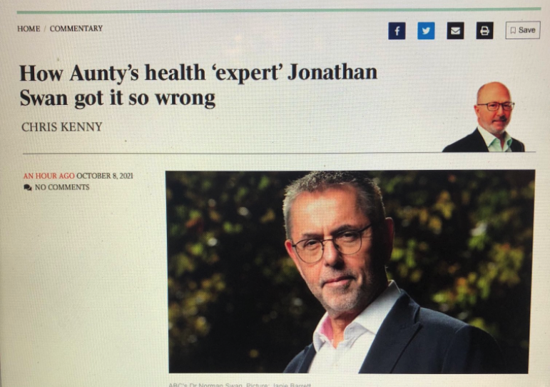 Norman Swan's son featured in the headline of a story about the former physician. Source: Twitter