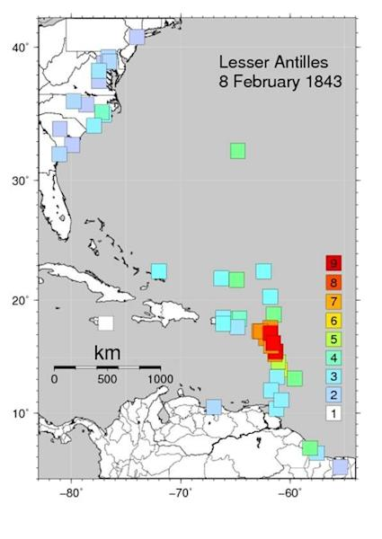 "A ""Did you feel it"" map created for the 1843 Lesser Antilles earthquake, based on historic reports, by Susan Hough of the U.S. Geological Survey."