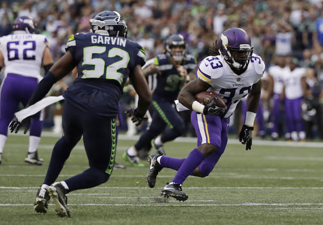 Minnesota rookie Dalvin Cook is rising fast up the fantasy RB ranks. (AP)