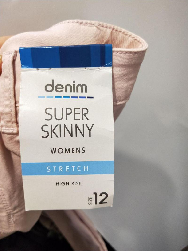 One of the mums revealed the tag on the back of the jeans. Photo: Ebony Brown/Kmart Mums Australia