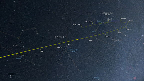 From now through October, comet ISON tracks through the constellations Gemini, Cancer and Leo as it falls toward the sun. Image released March 29, 2013.