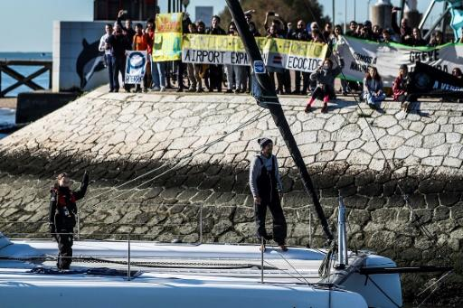 Dozens of environmental activists greeted Greta as she arrived in Lisbon