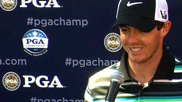 Rory McIlroy chips in on the 18th hole to get in the top-10 at the PGA Championship