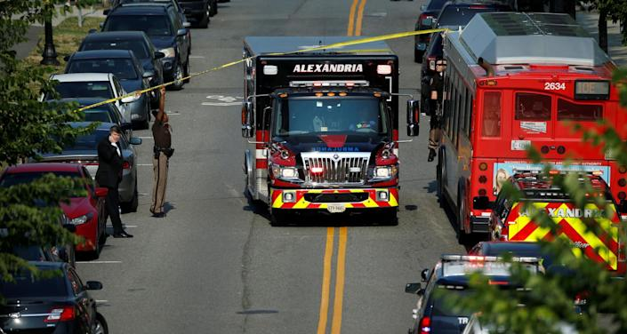 <p>Police make way for an ambulance after a gunman opened fire on Republican members of Congress during a baseball practice near Washington in Alexandria, Virginia, June 14, 2017. (Photo: Joshua Roberts/Reuters) </p>