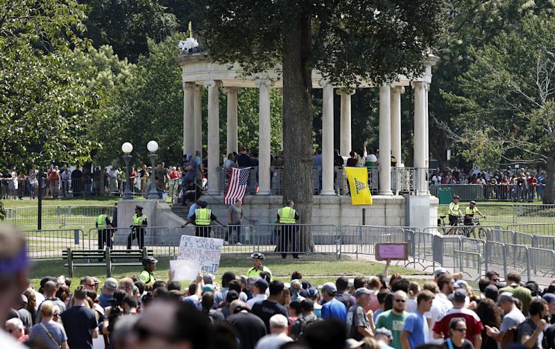 Counter protesters vastly outnumbered the