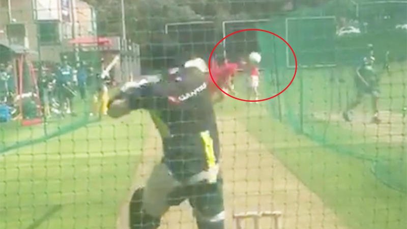 Steve Smith missed a shot at a bouncer from a schoolboy.