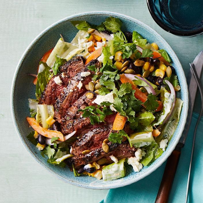 <p>Transform steak into a nutritious meal by serving it atop this lively Southwest-inspired salad recipe. If you make the dressing when you marinate the steak, this meal comes together quickly.</p>