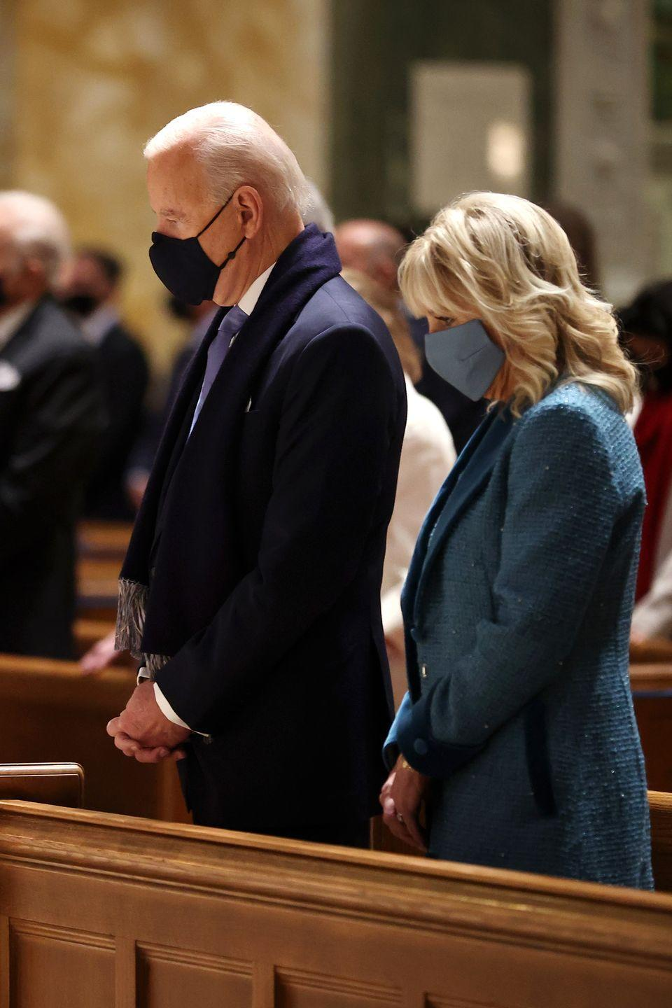<p>President-elect Joe Biden and Dr. Jill Biden attend services at the Cathedral of St. Matthew the Apostle with congressional leaders prior to the 59th presidential inauguration ceremony in Washington, D.C.</p>