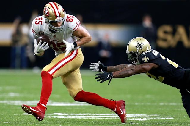 Is George Kittle the best tight end in the NFL? (Photo by Sean Gardner/Getty Images)
