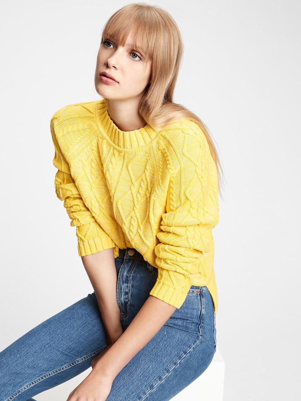 <p>This <span>Gap Cable Knit Crewneck Sweater</span> ($42) puts a bright color on a classic knitwear trend. Pair with your favorite pair of blue jeans.</p>