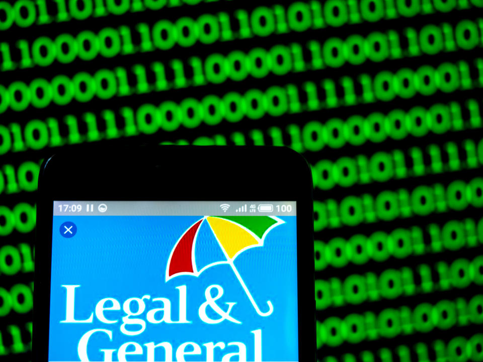UKRAINE - 2019/03/13:  In this photo illustration, the Legal & General Group plc company logo seen displayed on a smartphone. (Photo Illustration by Igor Golovniov/SOPA Images/LightRocket via Getty Images)